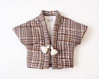 Baby Hanten,Kimono jacket, japanese vest, CHOCOLAT, hand block printed fabric from India, made in France