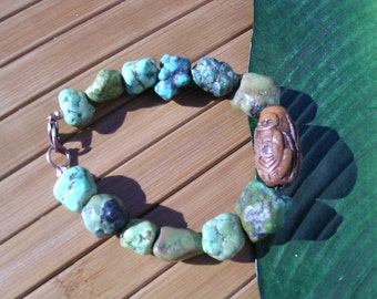 RESERVED for Peter McG - Happy Buddha Green Turquoise Bracelet