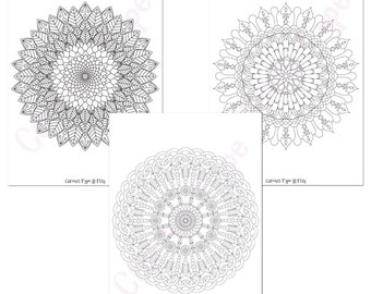 3 x Mandalas Colouring Pages, Vector digital Instant Download