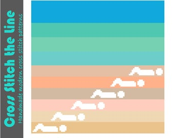 Modern cross stitch pattern in beautiful sandy beiges and blue greens. Minimalist design. 'A day at the beach'