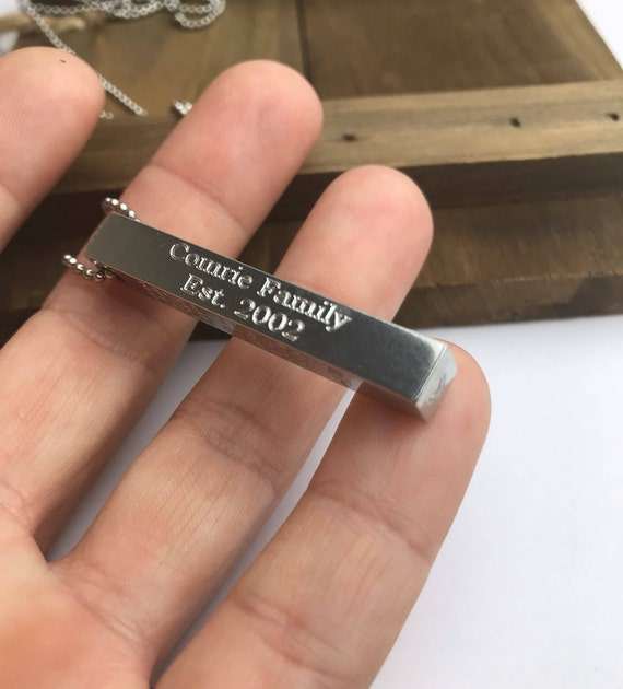 Solid 3D Bar Key Chain or Necklace | Aluminum Pendant | 4 Sides Engraved Necklace | Personalized Gifts