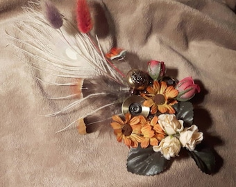 Autumn Mist - ATS or tribal fusion belly dance hair clip | Gatsby flapper art deco  fascinator 1920 party ball (S-M)