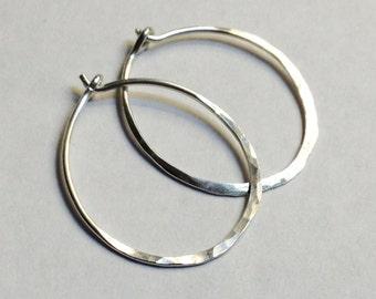Sterling Silver Hoop Earrings   925 Sterling Silver Hoop Earrings   Sterling Silver Hoops   1 Inch Diameter Hoop Earrings