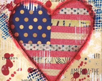 America the Beautiful, stars and stripes, americana decor, patriotic painting, americana canvas, 8x8 canvas, red white and blue, 4th of July