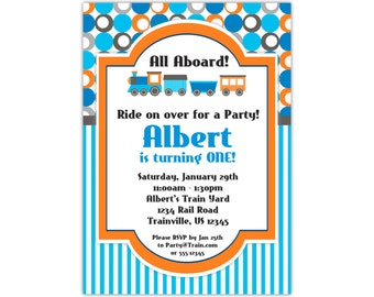 Train Invitation - Blue Stripes, Fun Orange Polka Dots, Cute Little Engine Train Personalized Birthday Party Invite - Digital Printable File