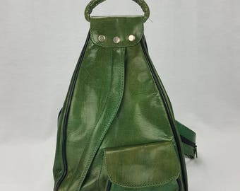 Handcrafted Leather Backpack Purse Green Medium Guitare