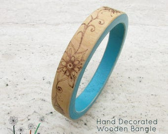 Handpainted Wooden Bangle, Hand Decorated Pyrography, Hand Painted, Stackable Skinny Wooden Bracelet, Blue Bangle, Wooden Flower Bangle Gift