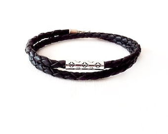Leather Bracelet, Braided Leather, Sterling Silver, Diamond Cut Out, Black Leather, Wrap Bracelet, Minimalist Jewelry