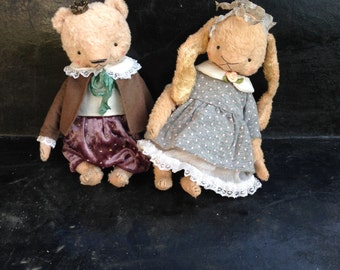 SUPER DEAL 2 PDF E-patterns for 7 inch Artist Handmade Teddy Bear Le Petit Prince and Teddy Bunny Leila plus the clothes patterns included