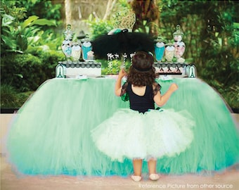 Tinkerbell inspired Green Table Tutu Skirt MADE TO ORDER Tulle Tableskirt for Disney Fairy Birthday Party Baby Boy Shower Graduation Event