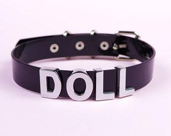 DOLL Choker | Vinyl Choker Collar | Faux Leather PVC | Name Collar | Clear Choker | Custom | Letters | Safe Word Choker | Shop Kadabra