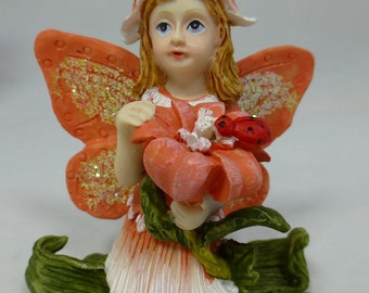 Orange Flower Fairy - resin Ornament with gift box