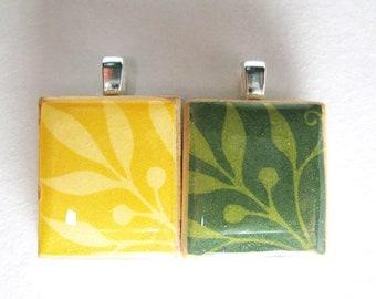 Green or yellow leaves Scrabble tile pendant