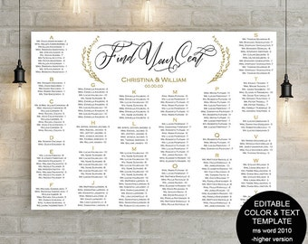 DIY wedding seating chart, printable seating chart, find your seat, template, instant download, editable, S21