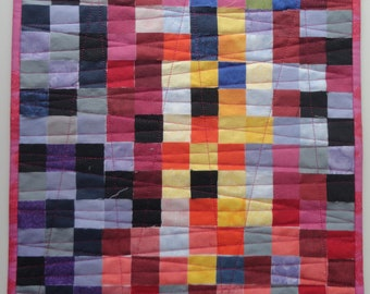 """Mini quilt wall hanging """"Lost in Pink"""""""