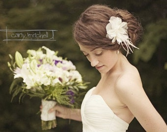 Bridal flower with feathers and pearls - BELMONT no.41