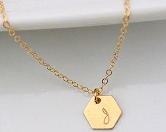 Gold Hexagon Necklace, Personalized Initial Geometric Jewelry, Minimal Geometric Necklace, Layering Necklace, Minimalist Necklace