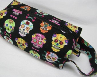 Dia de Los Muertos Fun Skulls Halloween Cosmetic Bag Makeup Bag LARGE