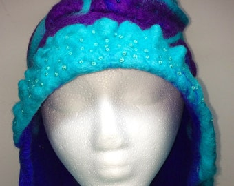 purple and turquoise blue star wet felted hat / handmade hat / wet felted winter hat / unique fun hat / purple and blue hat / winter hat