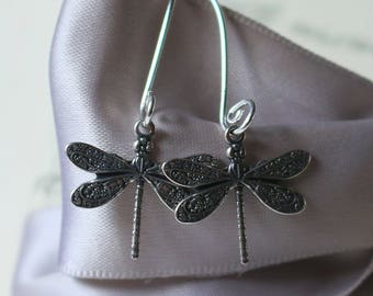Silver Dragonfly earrings tiny size ornately detailed with Sterling earwires