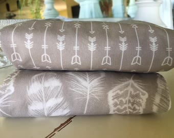 Burp Cloth Taupe Feathers Arrows Two Diaper Burp Cloths Gender Neutral Nursery Baby Gift Shower Gift