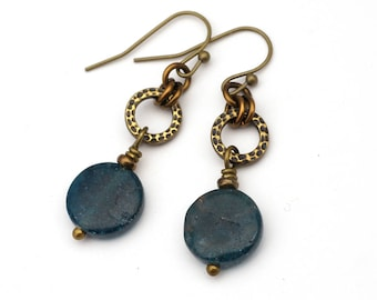 Apatite earrings, green blue disks, hammered loop, French hooks, brass dangle
