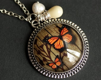Orange Butterfly Necklace. Monarch Butterfly Pendant with Fresh Water Pearl and Beige Teardrop. Orange Necklace. Handmade Necklace.