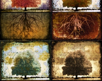 Tree Of Life. Tree and Roots. Clouds. Original Digital Photograph. Wall Art. Wall Decor. Giclee Print. TREE OF LIFE by Mikel Robinson