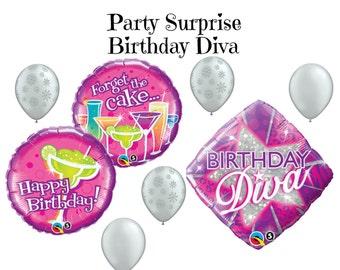 Diva Birthday Balloons Girls Women's Birthday Party Balloon Decorations Diva Balloons Diva Party Balloons