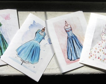 Vintage Dress Notecards - Fashion Cards Watercolor Art - Note Cards Ed. 2, Set of 4