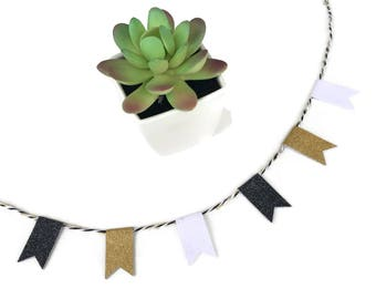Glitter Bunting Banner - Gold, Black, White - Office Decor - The Classic Collection