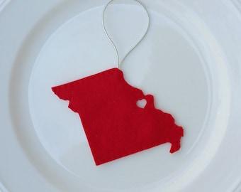 Missouri Felt Christmas Handmade  Ornament