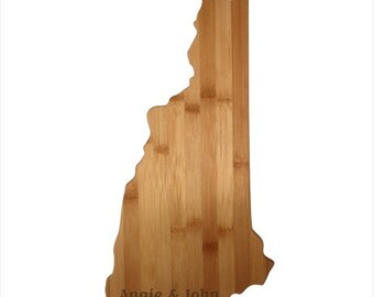 Engraved New Hampshire Cutting Board - New Hampshire Shaped Bamboo Board Custom Engraved - Wedding Gift, Couples Gift, Housewarming Gift