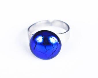 Dark Blue Glass Ring - Handmade