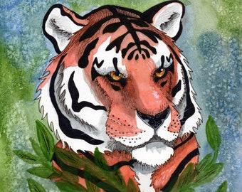 PRINTS Tiger Study 1 wall art, watercolor, auburn, nature, vulture culture, fine art prints