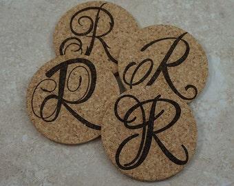 Monogram Initial Coasters ~ Cork Coaster Set ~ Laser Engraved Cork Coasters ~ Monogram Drink Coasters