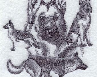 German Shepherd Towel -Dog  towel - embroidered  german shepherd- german Shepherd- dog decor - hand towel