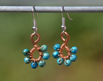 Handmade earrings with recycled copper and turquoise