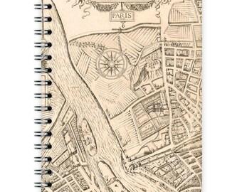 Vintage Notebook A6 - Paris Map