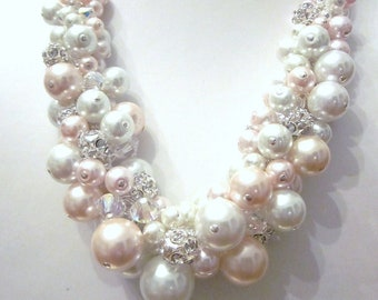 Blush Pink and White Pearl Cluster Necklace with  Optional Matching Pink Ribbon - Cluster, Wedding, Bride, Bridesmaid, Prom, Formal