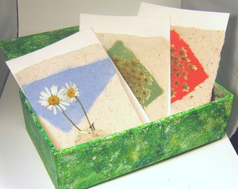 Hand Made Paper Floral Cards in an Upcycled Bright Hand Painted Box-PM-box#6