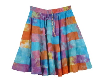Rainbow Multi Color Patchwork Short Skirt in 8 Tiers