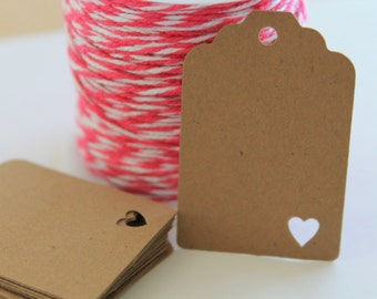 30 Small Kraft Brown Gift Tags with Tiny Heart Punch Outs- Wedding, Bridal Shower, Favor Tags, Packaging