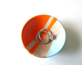Neon orange and blue wood dish, jewelry dish, ring cup, mini jewelry holder, wedding ring bowl, engagement gift, tiny ring dish