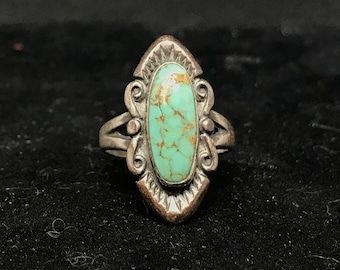 Vintage Old Pawn Sterling Silver and Turquoise Ring MARKED Bell Trading Post Size 5 3/4