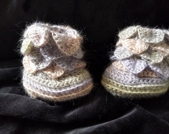 Grey, Beige, and Lilac Crocheted Dragon Scale Baby Booties