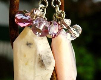 Pink Opal Crystal Earrings Chunky Bold Gemstone Earrings Faceted Pink Purple Crystal Glass Bead Cluster Handmade Jewelry Canada