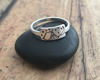 Camping Ring, Hand Stamped Sterling Silver Tent, Moon and Stars Camping Ring