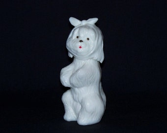Collectible Avon Milk Glass Dog Figural Perfume Bottle
