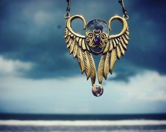 Super seven crystal Protection - Brass jewelry - Ametyst necklace - opal jewelry - wing necklace - wings jewelry - festival jewelry